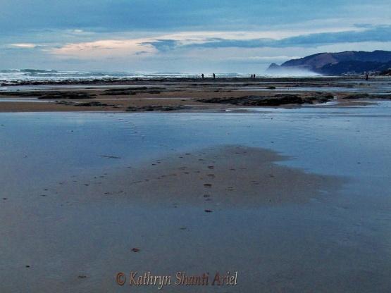 Heart in water & sand on Oregon Coast