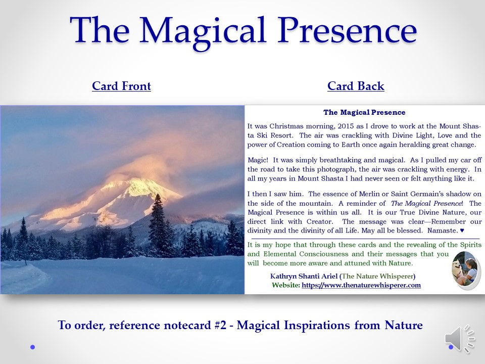 Magical Presence notecard side by side