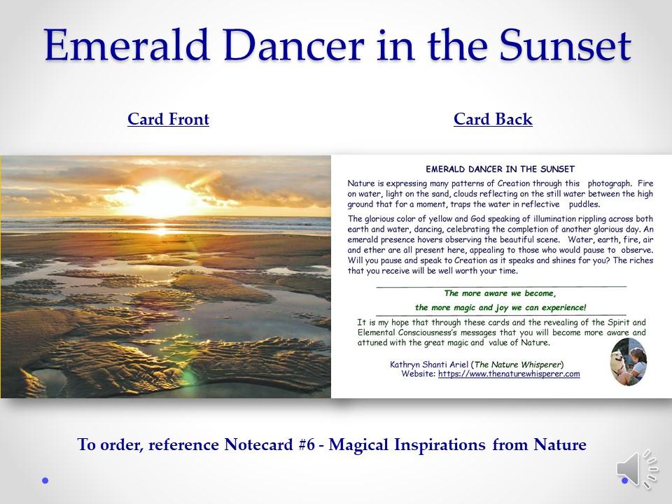 Emerald Dancer notecard side by side
