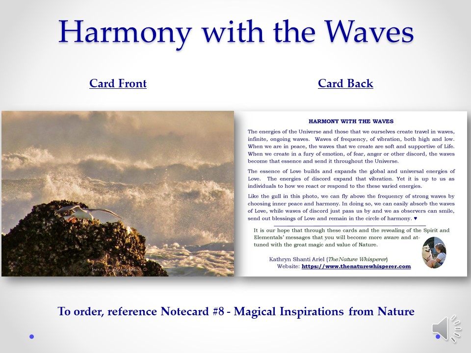 Harmony Between the Waves notecard side by side